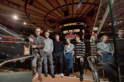 From left: Aaron Sorkin, Ed Harris, Nick Robinson, Nina Grollman, and Taylor Trensch Little Fang